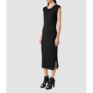 All Saints Black Gamma Jersey Ruched Midi Dress 6